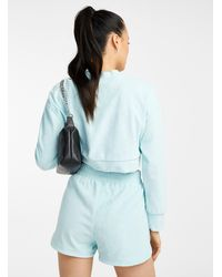 Icône Bouclé Terry Cropped Sweatshirt - Blue