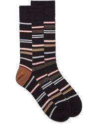 Bugatchi Offset Stripe Sock - Brown