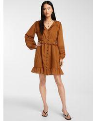 Scotch & Soda Organic Cotton Buttoned Ruffle Dress - Brown