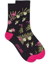Jack & Jones Flamingo And Hibiscus Socks - Black