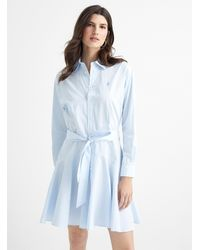 Polo Ralph Lauren Tie-belt Shirtdress (women, Blue, 10)