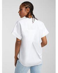 Ichi Kimono Poplin Shirt - White