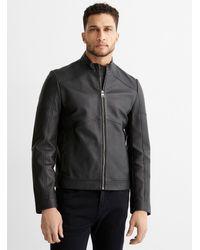HUGO Lonus Leather Jacket - Black