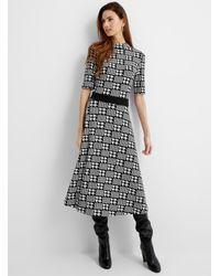 HUGO Houndstooth Knit Dress - Black