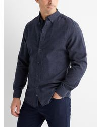 Report Collection Chambray Flannel Shirt Comfort Fit - Blue