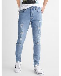 Only & Sons Distressed Warp Jean Skinny Fit - Blue