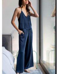 Lunya Long Pure Silk Pajama Set - Blue