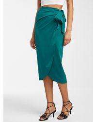 Icône Satiny Recycled Polyester Sarong Skirt - Green