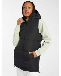 Noisy May Long Quilted Puffer Jacket - Black