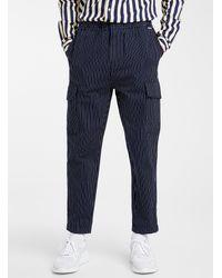 Scotch & Soda Piqué Stripe Indigo Cargo sweatpants - Blue