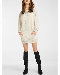 Icône Hooded Sweatshirt Dress - White