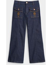 See By Chloé Decorative Pocket Flared Jean - Blue