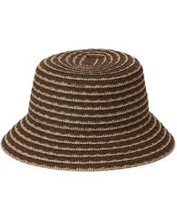 Nine West Colourful Scalloped Straw Bucket Hat - Brown