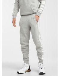 adidas Originals - 3-stripe Fleece Sweatpant Tapered Slim Fit (men, Grey, Large) - Lyst
