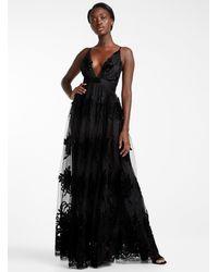 Icône Velvet Floral Tulle Maxi Dress - Black