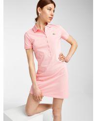 Lacoste Metallic Croc Live Polo Dress - Pink