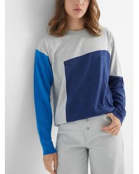 MM6 by Maison Martin Margiela Shades Of Blue Mixed Media Sweater