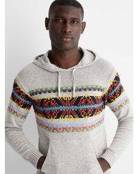 Benetton Mixed Jacquard Hoodie Sweater - Grey