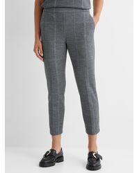Theory Windowpane Check Knit Pant - Grey