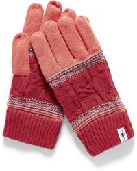 Smartwool Cable And Jacquard Merino Gloves - Red