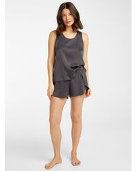 Lunya Pure Silk Short Pajama Set - Gray