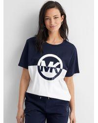 MICHAEL Michael Kors Michael Michael Kors - Two-tone Logo Loose T-shirt (women, Blue, Large)