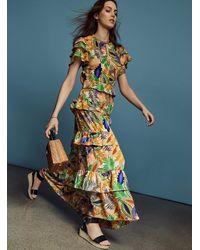 Glamorous Retro Tropical Floral Ruffle Dress - Multicolor