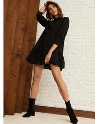 Icône Ruffled Broderie Anglaise Dress - Black