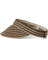 Nine West Scalloped Brightly Coloured Straw Visor - Brown