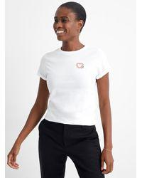HUGO Heart Embroidery T - White