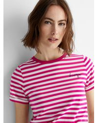HUGO Embroidered Logo Striped T - Pink
