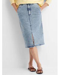 HUGO Gyoza Denim Midi Skirt - Blue