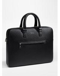 Paul Smith Embossed Leather Slim Business Folio - Black