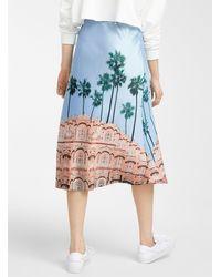 Icône Silky Satin Patterned Skirt - Pink