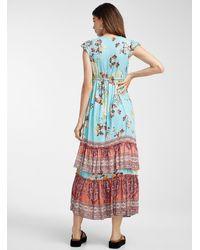 Icône Floral Sketch Maxi Dress - Blue