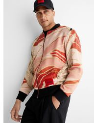 HUGO Orient Landscape Bomber Jacket - Pink