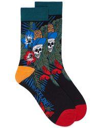 Jack & Jones Skull And Hibiscus Socks - Blue