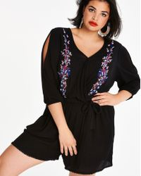 be8e940061 Lyst - Ark   Co. Floral Embroidered Skirted Romper in Black
