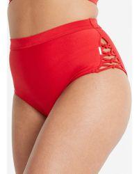 Figleaves High Waist Bikini Brief - Red