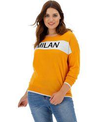 Simply Be Milan Slogan Jumper - Orange