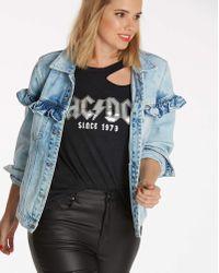 Simply Be - Ruffle Oversized Denim Jacket - Lyst