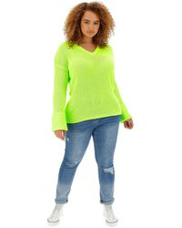 Simply Be Neon Lime Turn Back Cuff Boxy Jumper - Multicolour
