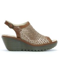 Fly London Yuti Luna & Camel Leather Perforated Wedge Sandals - Brown