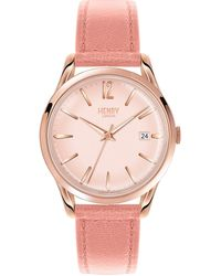 Henry London - Ladies 39mm Shoreditch Leather Watch - Lyst