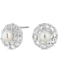 Claudia Canova Jon Richard Baguette Pearl Stud Earring - Metallic