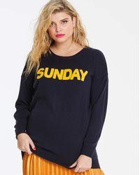 Simply Be Sunday Slogan Jumper - Blue
