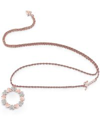 Guess - Heart Bouquet Rose-tone Necklace - Lyst