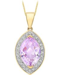 Simply Be - 9ct Gold Diamond And Amethyst Necklace - Lyst