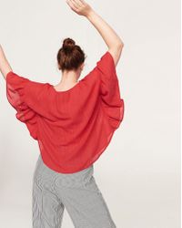 Violeta by Mango - Fluted Sleeve Cape Top - Lyst