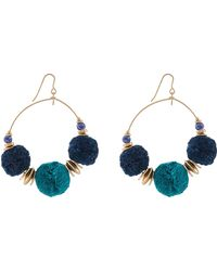 Accessorize - Monsoon Pom Pom Hoops - Lyst